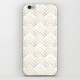 Art Deco Chevron Lines Bg White iPhone Skin