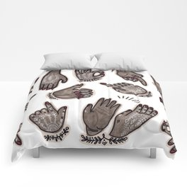 hand gestures and white henna tattoo Comforters