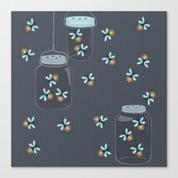 fireflies Canvas Prints featuring Fireflies by Badger & Bee