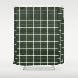 Kombu green - green color - White Lines Grid Pattern Shower Curtain