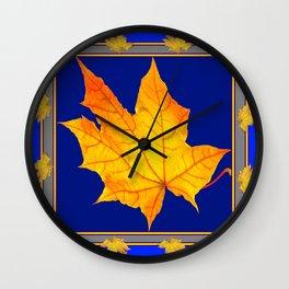 Autumn Golden Maple Leaves Deep Blue Design Wall Clock