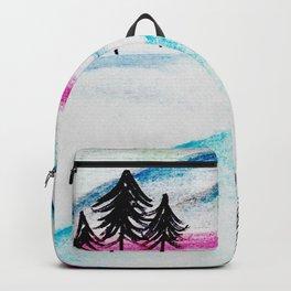 Watercolor blue landscape Backpack