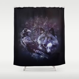 Raven and Wolf - Vegvisir and Tree of life Shower Curtain