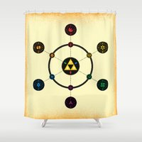 hyrule Shower Curtains featuring Hyrule Macrocosmica by Jude Buffum