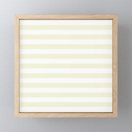 Ivory Cream and White Horizontal Beach Hut Stripes Framed Mini Art Print