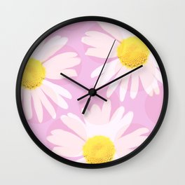 Flowers and dots on a pink background - lovely summery - #daisy #society6 #buyart Wall Clock