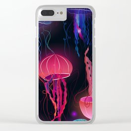 Pink Jellyfish Clear iPhone Case
