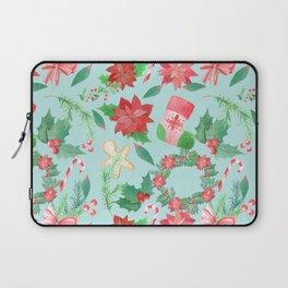 Merry Christmas Pattern (Blue Background) Laptop Sleeve