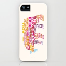 Bear in Different Languages iPhone Case