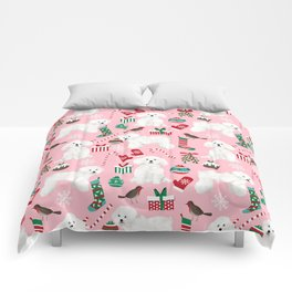 Bichon Frise pink christmas holiday themed pattern print pet friendly dog breed gifts Comforters