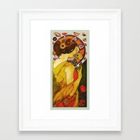 mucha Framed Art Prints featuring My Mucha by Mara Valladares