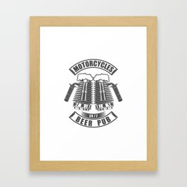 Beer pub emblem in vintage monochrome motorcycle style Framed Art Print