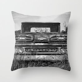 Vintage Truck Black and White Photography Throw Pillow