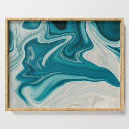 White & Teal Abstract Art Painting Serving Tray