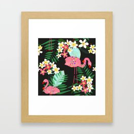 Tropical Pattern With Frangipani and Flamingo Framed Art Print
