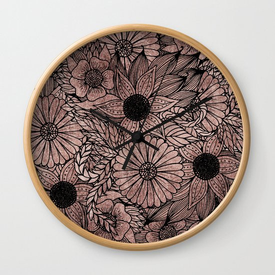 Floral Rose Gold Flowers and Leaves Drawing Black by blackstrawberry