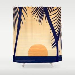 Retro Golden Sunset - Tropical Scene Shower Curtain
