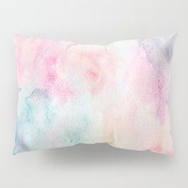Chic Pink and Blue Watercolor Wash Pillow Sham