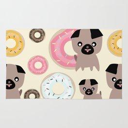 Pug and donuts beige Rug