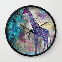 Majestic Series: Giraffe having a berry Wall Clock