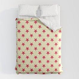 Crimson Red on Cream Yellow Stars Comforters