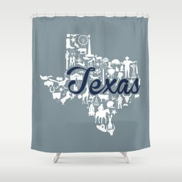 Dallas Cowboys Texas Landmark State - Gray and Blue Dallas Cowboys Theme Shower Curtain