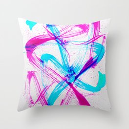 Expressive Brushstrokes of Hot Pink and Electric Cyan Throw Pillow