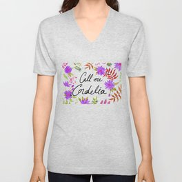 Call Me Cordelia - Purple Flowers Unisex V-Neck