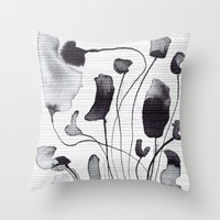 yetiland Throw Pillows featuring ink flowers by Georgiana Paraschiv