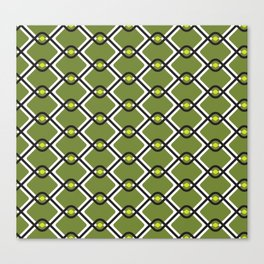 1960's Inspired Green, Yellow, Black and White Pattern Canvas Print