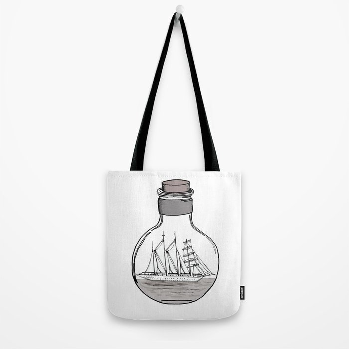 the ship in the bulb . illustration . Tote Bag
