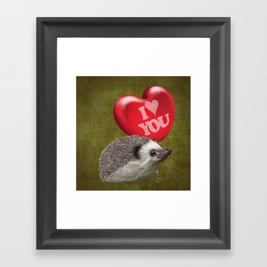 Hedgehog in love with a red balloon Framed Art Print