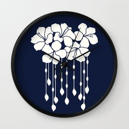 Hibiscus Flowers Bead curtain: Ivory Navy Wall Clock