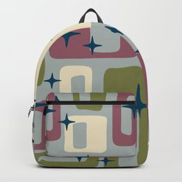 Retro Mid Century Modern Abstract Pattern 578 Wine Olive and Gray Backpack