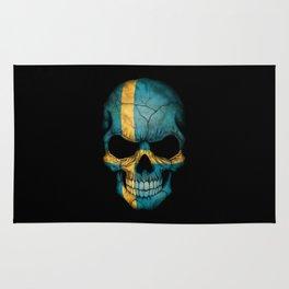 Dark Skull with Flag of Sweden Rug