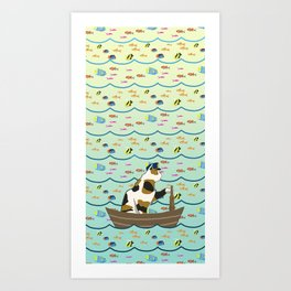 Captain Cat in yellow fade Art Print