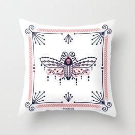 Death's Head Hawkmoth – Blush & Navy Palette Throw Pillow