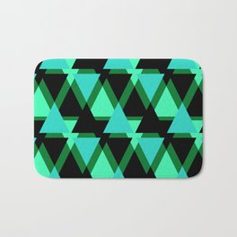 Abstract pattern . The green triangles . Bath Mat