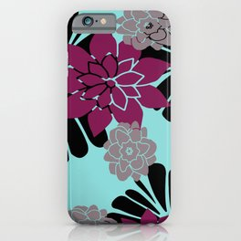 Abstract Flowers Graphic Design grey pink turquoise iPhone Case