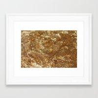 gold glitter Framed Art Prints featuring Glitter by Ellie Rose Flynn