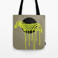 zebra Tote Bags featuring Zebra by ministryofpixel