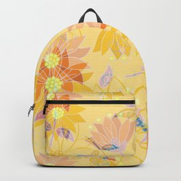 Yellow Hues Decorative Floral Backpack