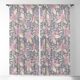Pink, Purple & Cream Floral/Botanical Pattern Sheer Curtain