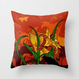 Jungle Lilies Throw Pillow