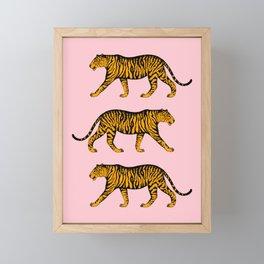 Tigers (Pink and Marigold) Framed Mini Art Print