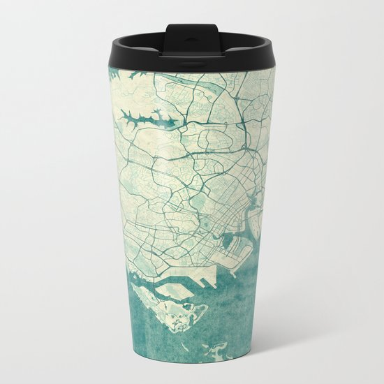 Singapore Map Blue Vintage Metal Travel Mug