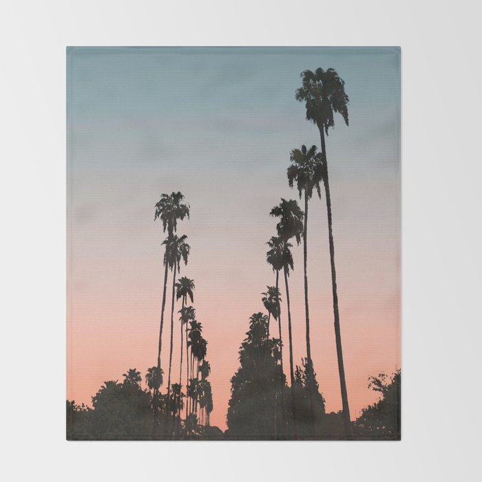 California Sunset // Palm Tree Silhouette Street View Orange and Blue Color Sky Beach Photography Throw Blanket