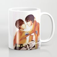 levi Mugs featuring Levi x Eren by TEAM JUSTICE ink.