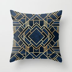 Art Deco Fancy Blue Throw Pillow