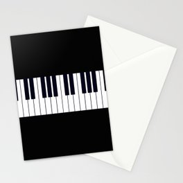 Piano Keys - Black and white simple piano keys pattern minimalistic music themed artwork Stationery Cards